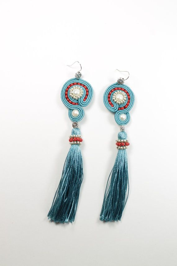 Soutache turquoisered earrings. por SoftAmethyst en Etsy
