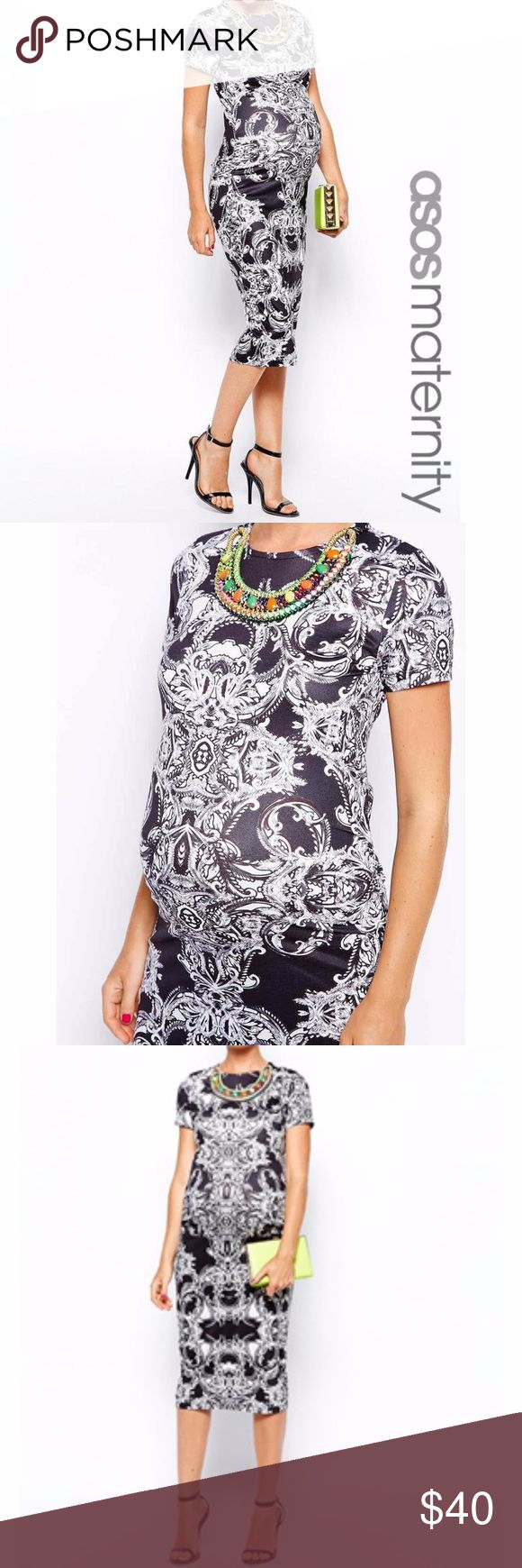 ASOS Maternity Body-Conscious Dress Baroque Print ASOS Maternity Body-Conscious Dress Baroque Print - Size 6.  Originally there was a necklace attached to the dress that I removed because I wanted the freedom to switch out the necklace as I wished. ASOS Maternity Dresses Midi