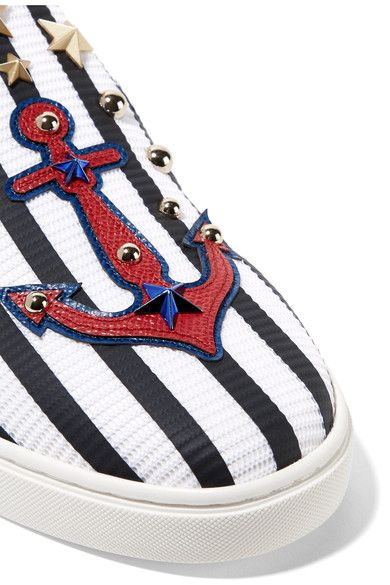 Dolce & Gabbana - Embellished Striped Textured-leather Slip-on Sneakers - White - IT