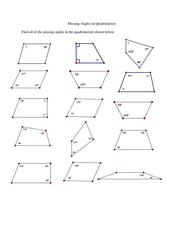 Finding Missing Angles Worksheet Missing Angles In ...