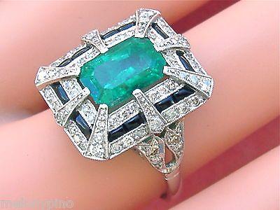 Estate Art Deco 1 50ctw Diamond 3ct Emerald Black Onyx Platinum Cocktail Ring www.MelsAntiqueJewelry.com