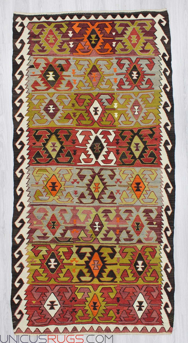 "Vintage kilim rug from Konya region of Turkey.İn good condition.Approximately 50-60 years old.İn very good condition Width: 5' 0"" - Length: 10' 0""  Colorful Kilims"