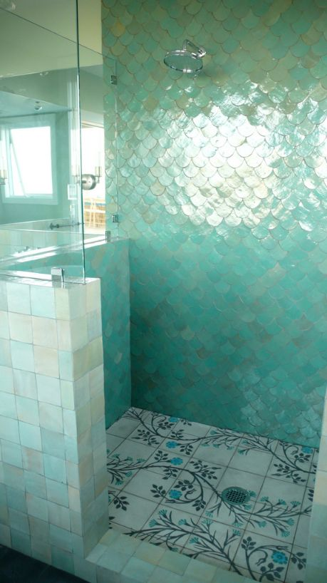 This shower is stunning. The wall tile is similar to our Ogee Drop shape, and the shower pan similar to our Cuerda Seca's.