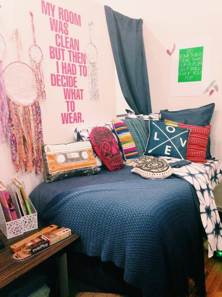 Check out this #roomrealness featuring everything Dormify!  Chambray Denim Duvet Cover, Various Dormify Pillows, KERRY CASSIL X DORMIFY DREAM CATCHER, Dormify Decal, and more! #dormify #roomrealness #apartmentdecor #dormdecor #college #sorority