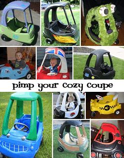 So cute. Pick up a Cozy Coupe at a Consignment sale & Pimp that Ride!  Love these ... Upcycle your Little Tikes 13 Ways to Pimp Your Cozy Coupe #consignment