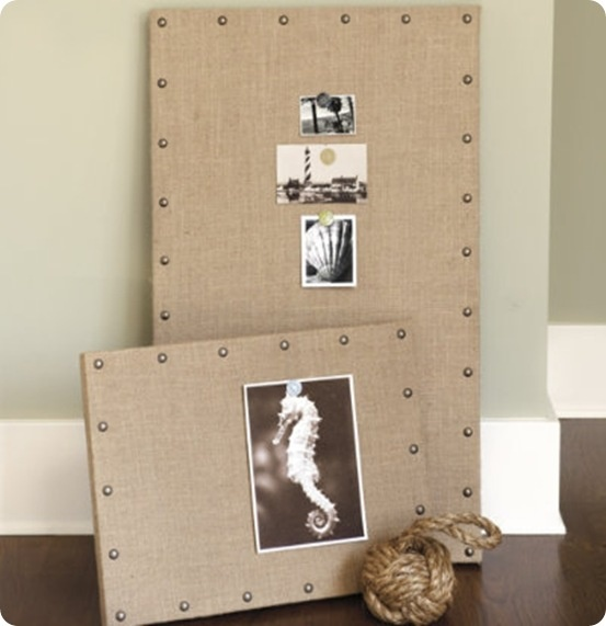 Message boards.  Scrap plywood and corkboard covered with burlap jazzed up with nailheads