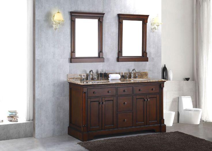 """Solid Wood 60"""" Double Bathroom Vanity Sink Cabinet w/ Granite Stone Top"""