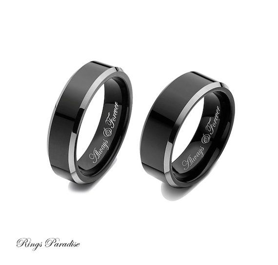 Wedding Band Sets Black Tungsten Engagement Rings by RingsParadise