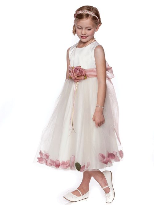 Satin and Tulle Floral Accent Dress with Organza Sash - Toddler & Girls (2-12)
