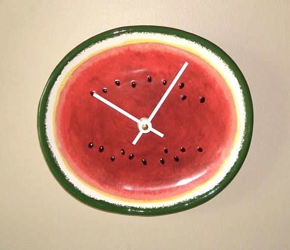8 Inch Watermelon Clock  Unique Wall Clock Small Wall Clock