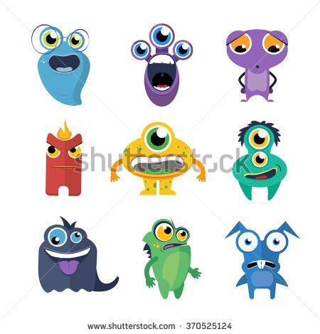 Cute monsters vector set in cartoon style. Alien cartoon character, creature collection fun illustration - stock vector