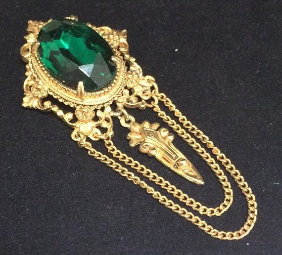 8dea8814e Mid Century romantic Victorian Revival style rhinestone brooch Large emerald  green faceted glass stone, with dripping layers of chains and dangling  pendant ...