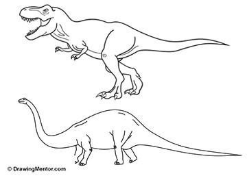 Steps For Drawing A Dinosaur