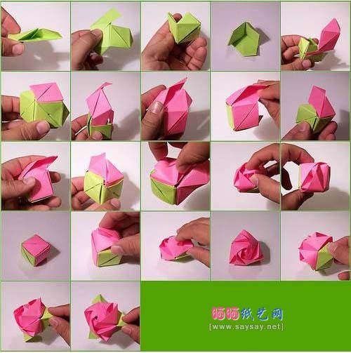 Cube instructionsorigami magic cubeorigami rose diagram for How to make a paper rose origami
