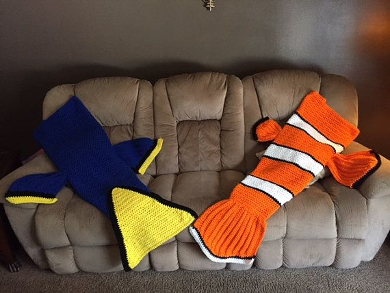 Dory Inspired Tail Blanket Finding Nemo by YarningOn on Etsy