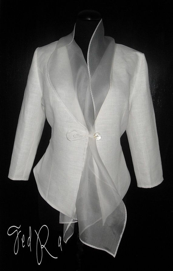 Linen jacket for woman linen blazer with organza collar White Basic linen Jacket Slim Blazer Wedding Jacket Custom Order