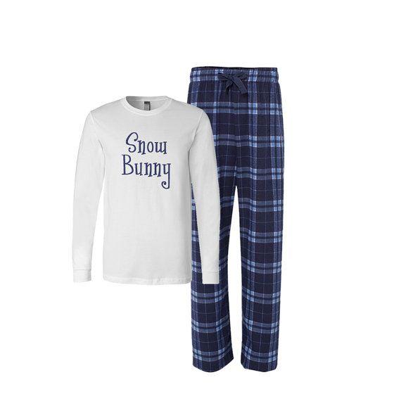 Snow Bunny Flannel Pj Set, Adult Christmas Pajamas, Christmas Flannel Pajama set, Xmas Plaid Pajamas, Adult Santa baby Tshirt, xmas pjs