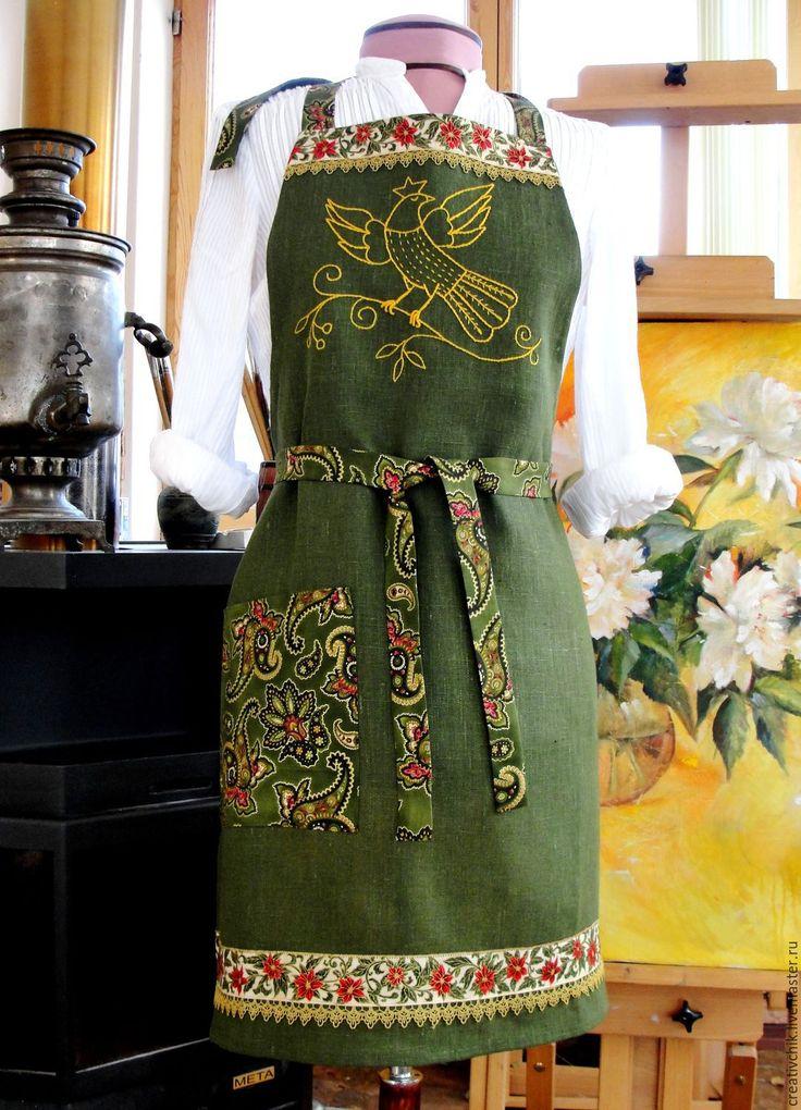 Фартук для кухни Жар-птица 2 - с авторской вышивкой, ручная работа, натуральные ткани: лен и хлопок