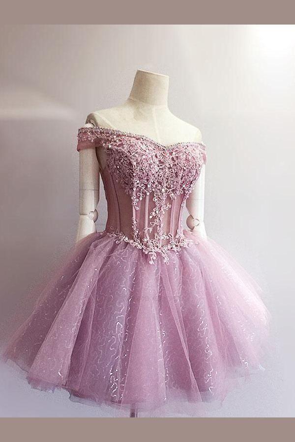 86e0c3673e0 Cheap Enticing Homecoming Dress Short Chic Off-Shoulder Applique ...