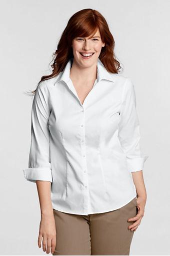 3 4 sleeve no iron pinpoint splitneck shirt plus for No iron white shirt womens