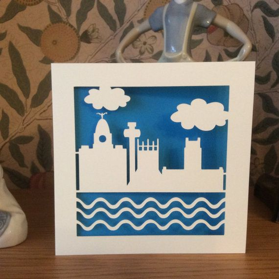 Liverpool Skyline Card - Papercut - Liverpool Card - Liver Building - Liverpool Cathedral - River Mersey - Radio Tower - Birthday - Greeting