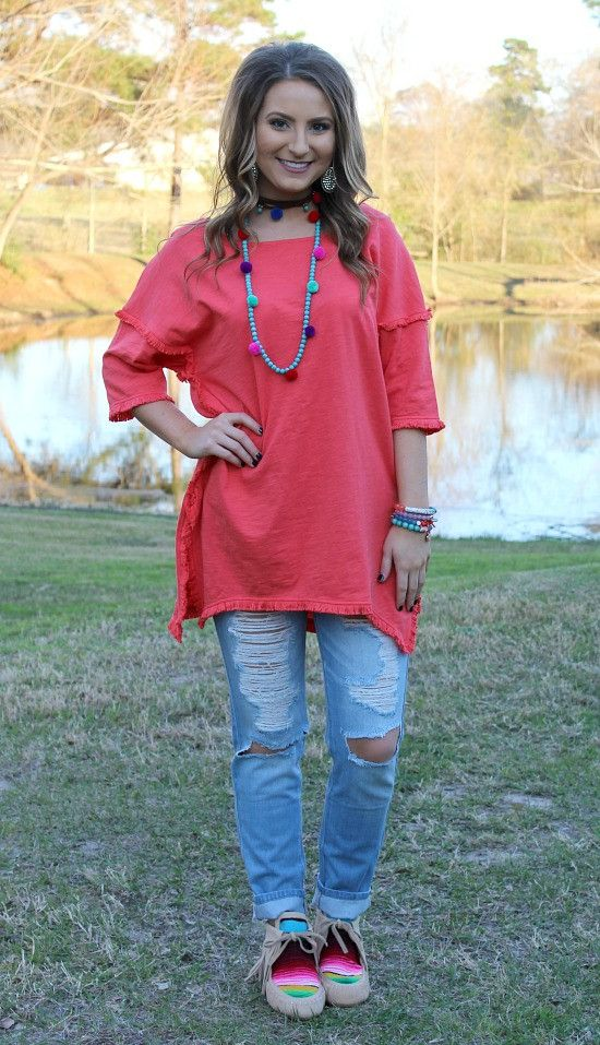 What a Feeling Fringed Hem Tunic in Coral – Giddy Up Glamour Boutique