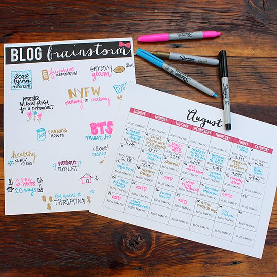 Creativity + Organization for Small Biz + Bloggers w/ Sharpie | Free Blog Brainstorm Printable