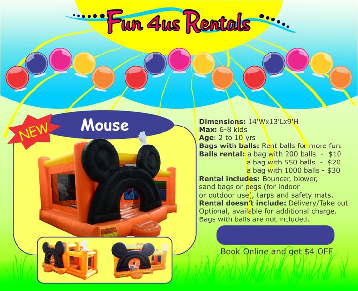 $95 for 24 hours MOUSE kids bouncers rental Fun 4us Rentals