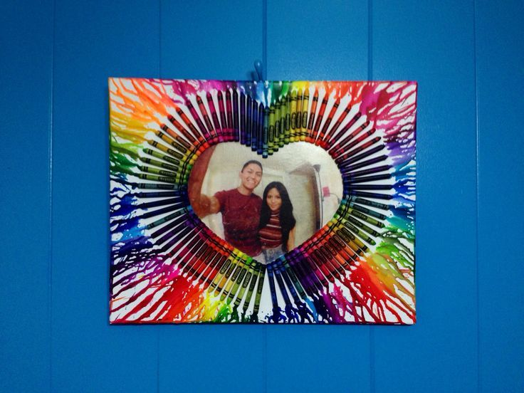 Heart Melted Crayon With Photo Canvas Diy
