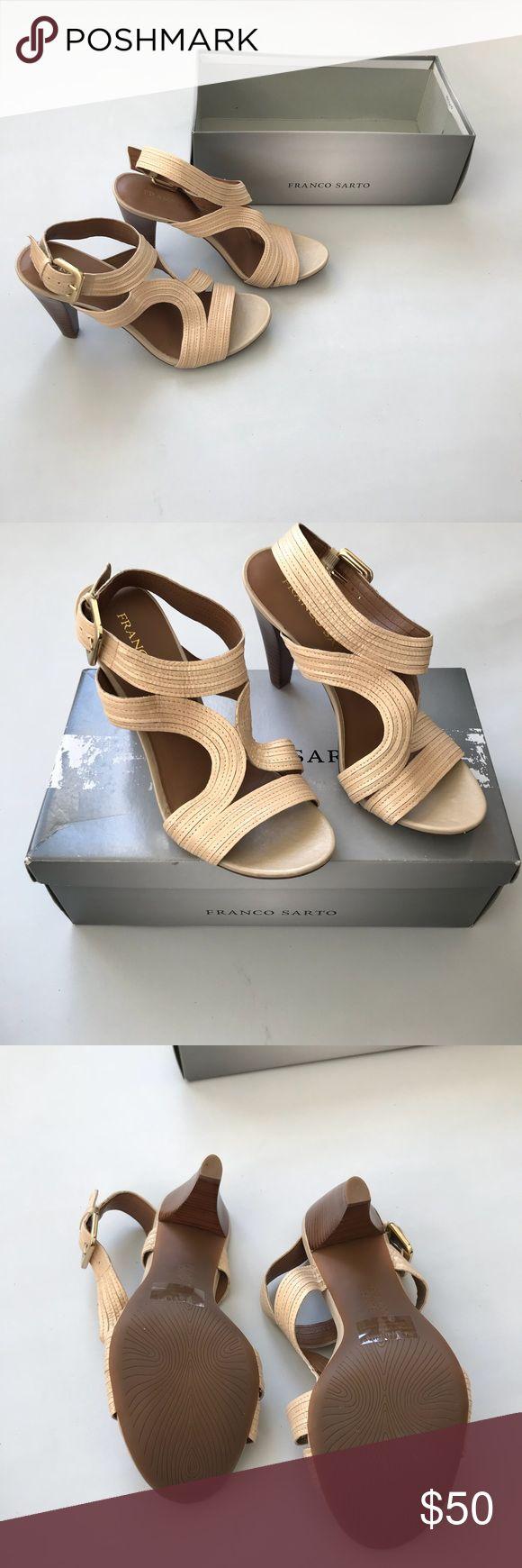 Franco Sarto Sandal Heels sz7M Adonis color cream Franco Sarto Sandal Heels size 7M Adonis color cream Strappy Sandal Heels. Franco Sarto Shoes Heels