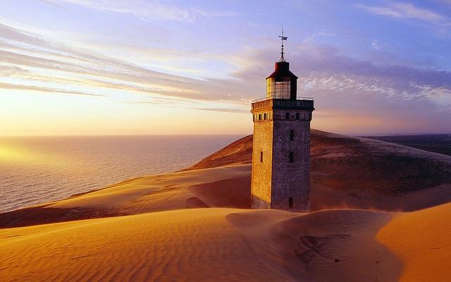 Rubjerg Knude Lighthouse partially buried in sand, Lønstrup, Jutland, Denmark