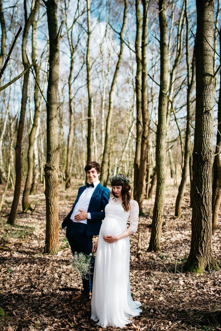Verliebt Verlobt Verheiratet Ivy Li Schwanger Hochzeit Schwangere Braut Hochzeit Wald