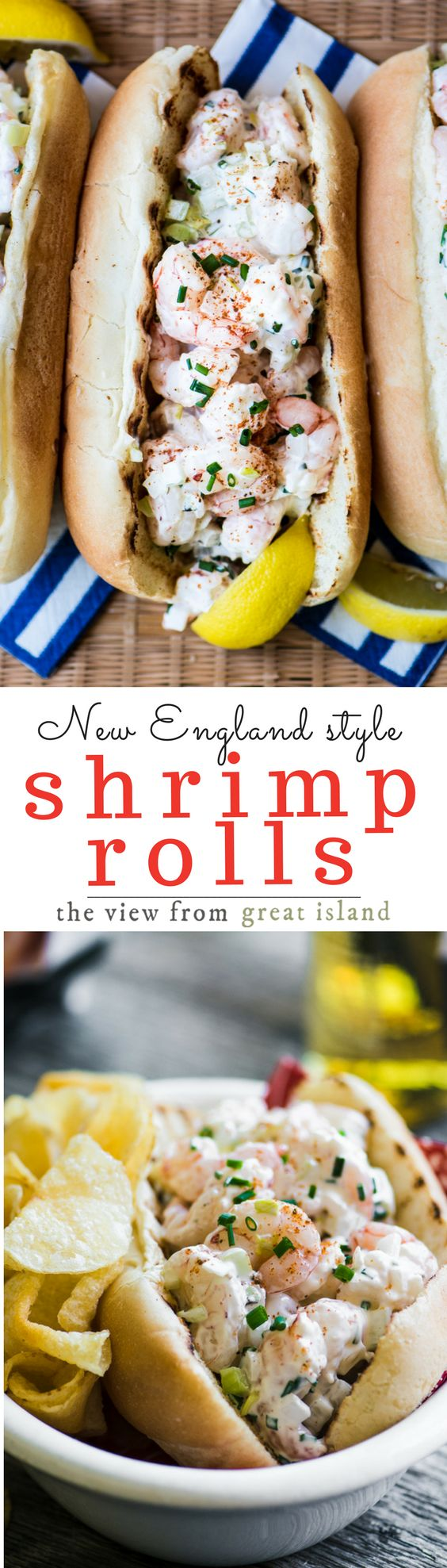 New England Style Shrimp Rolls ~ jumbo chunks of wild caught shrimp simply tossed with mayo and lemon and then stuffed into a butter toasted bun ~ yum!