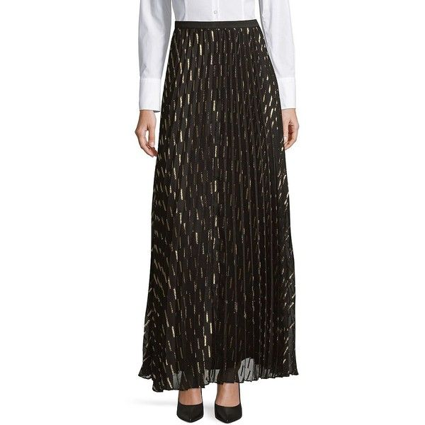 Eliza J Women's Pleated Maxi Skirt ($208) ❤ liked on Polyvore featuring skirts, black gold, long sheer skirt, elastic waist maxi skirt, metallic skirt, long sheer maxi skirt and sheer maxi skirts