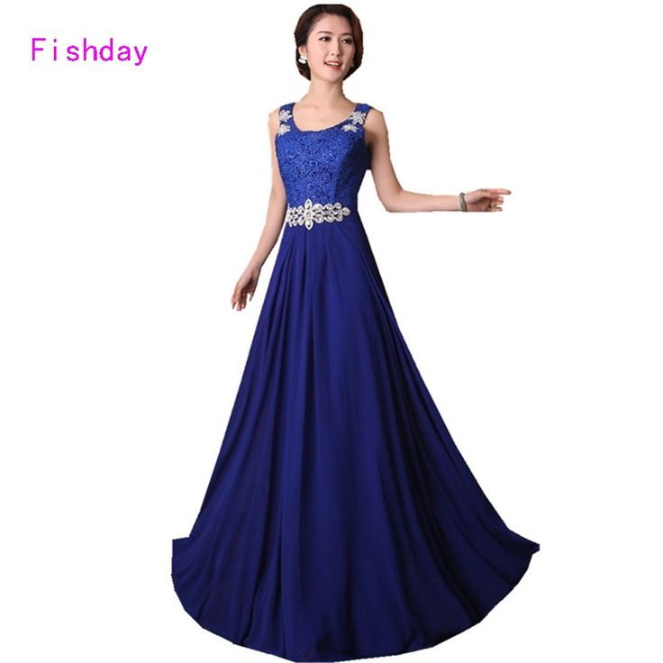 >> Click to Buy << Long Royal Blue Formal Black Crystal Lace Chiffon Prom Dresses Red Turquoise Plus Size 2017 under 50$ Longue Dresses Party B30 #Affiliate