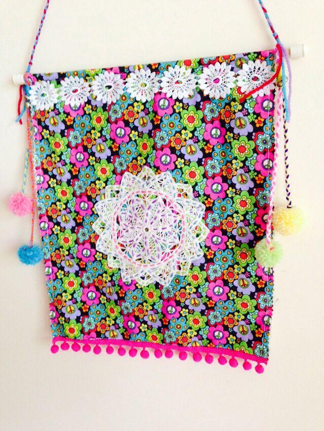 Boho wall hanging ....$20 #handmade#boho#floral#peacesign#doily#lace#pompoms