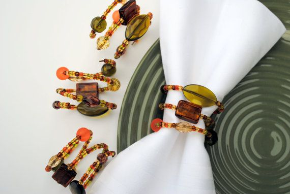 Fall Napkin Rings Set of 4 - Fall Colors - Beaded Napkin Rings by BrittanysBest, $20.00. #autumnnapkinrings, #thanksgivingtabledecor