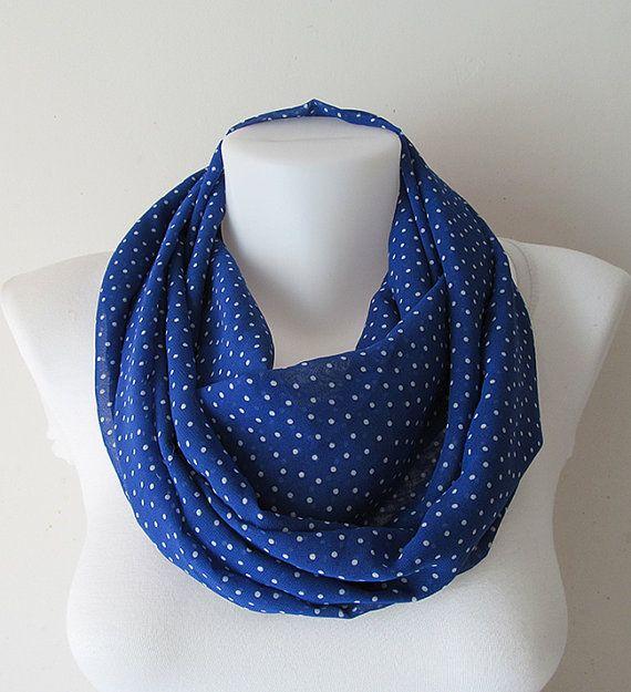 Polka Dot Infinity Scarf Cobalt Blue White by NaryasSewingCorner