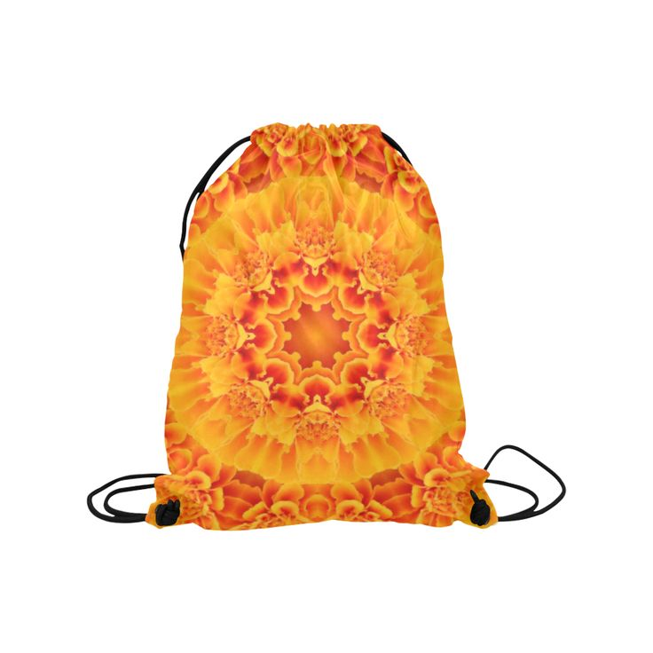 Orange Marigold Mandala Medium Drawstring Bag Model 1604