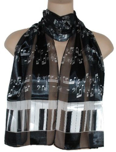 Piano Keys and Music Notes Satin Stripe Musical Instrument Oblong Scarf/sash/belt ~ Choose From Pretty Color Combos: Clothing