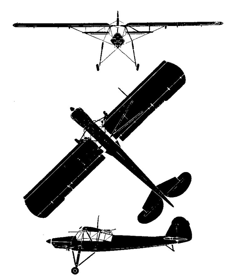 Silhouette of the Morane-Saulnier M.S.500 Criquet. The World's Fighting Planes (William Green and Gerald Pollinger, McDonald: London 1954) used 55 Crown Copyright silhouettes provided by the Controller of H.M. Stationery. An acknowledgements section on page 6 of the book identifies them by page. This image is one of those and since the publication date is pre-1957 is in the public domain.
