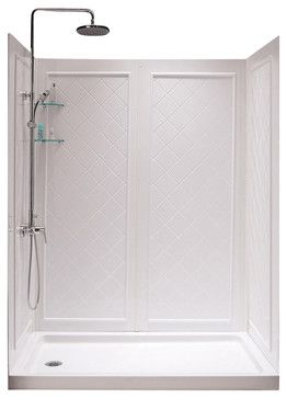 SlimLine Single Threshold Shower Base and Qwall-5 Shower Backwalls Kit - contemporary - Shower Stalls And Kits - BuilderDepot, Inc.