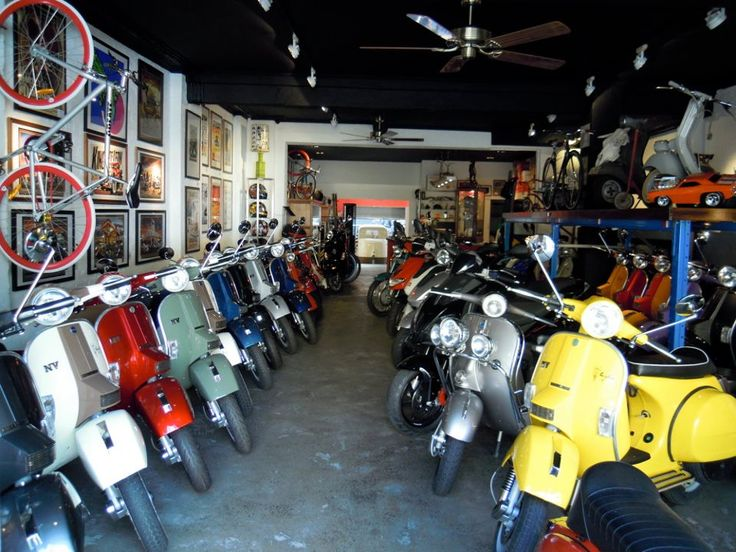 Scooter shop, Sydney. LML Stars and NVs, MP3 and some Vespas.