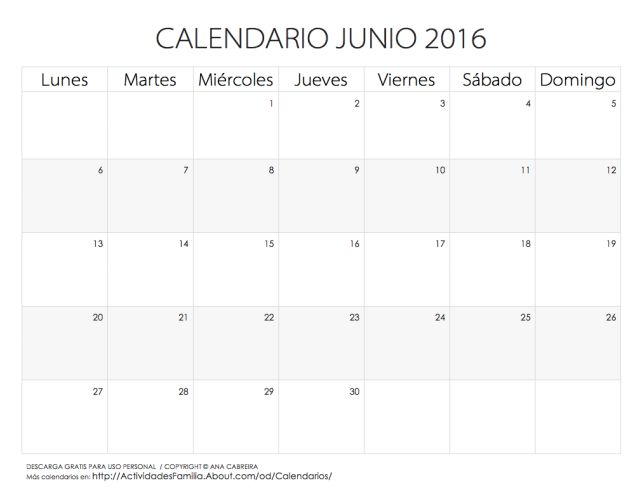 Calendarios 2016 para imprimir: Calendario Junio 2016