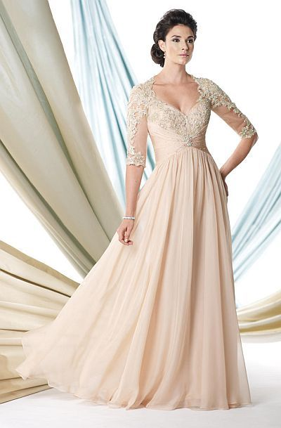 Elbow sleeve Tensi Chiffon long mother of the bride dress with sheer lace sleeves.