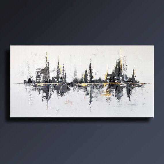"""72"""" grande ORIGINAL negro blanco gris oro pintura ABSTRACTA sobre lienzo arte moderno abstracto contemporáneo decoración de la pared - Unstretched-WG25L"""