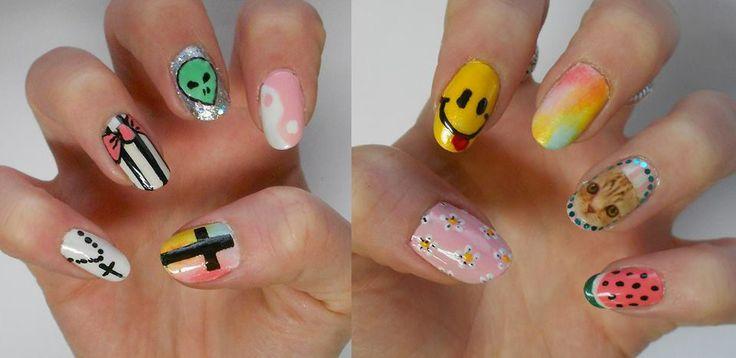 Grunge Nails, pastel grunge nails, soft grunge nails, 90s Nails - Alayna Josz LadyAlayna.tumblr.com