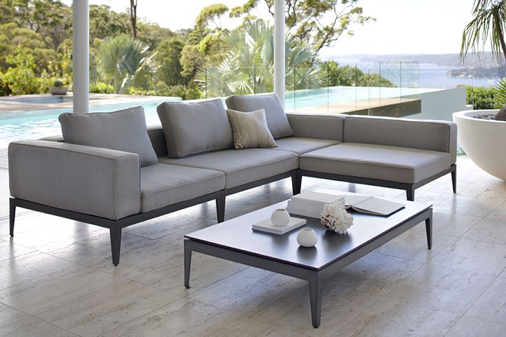 Eco Outdoor Avalon modular sofa in Basics outdoor fabric with low side table. Outdoor furniture | livelifeoutdoors | Patio furniture | Outdoor dining | Teak outdoor | Outdoor design | Outdoor style | Outdoor luxury | Designer outdoor furniture | Outdoor design inspiration | Pool side furniture | Outdoor ideas | Luxury homes
