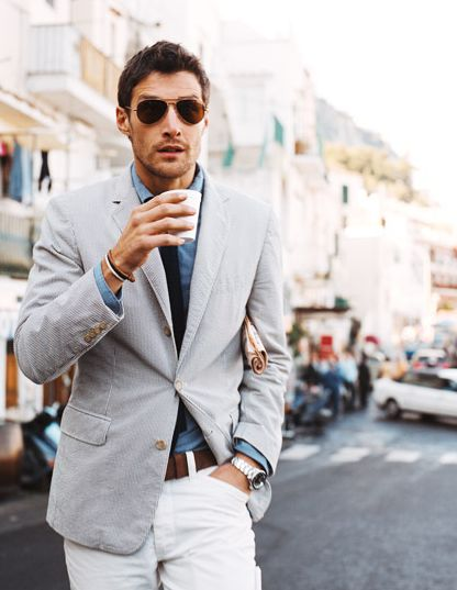 Whipcord jacket, chambray shirt, white jeans (chinos?), aviators, and an espresso; crisp: Men S Style, Men S Fashion, Mens Fashion, White Pants, Mensfashion, Wear, Man