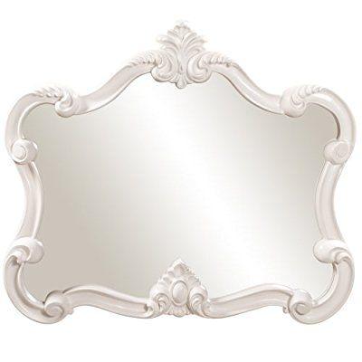 Amazon.com: Howard Elliott 56032 Veruca Rectangular Mirror, 28 x 32-Inch, Glossy White Lacquer: Home & Kitchen